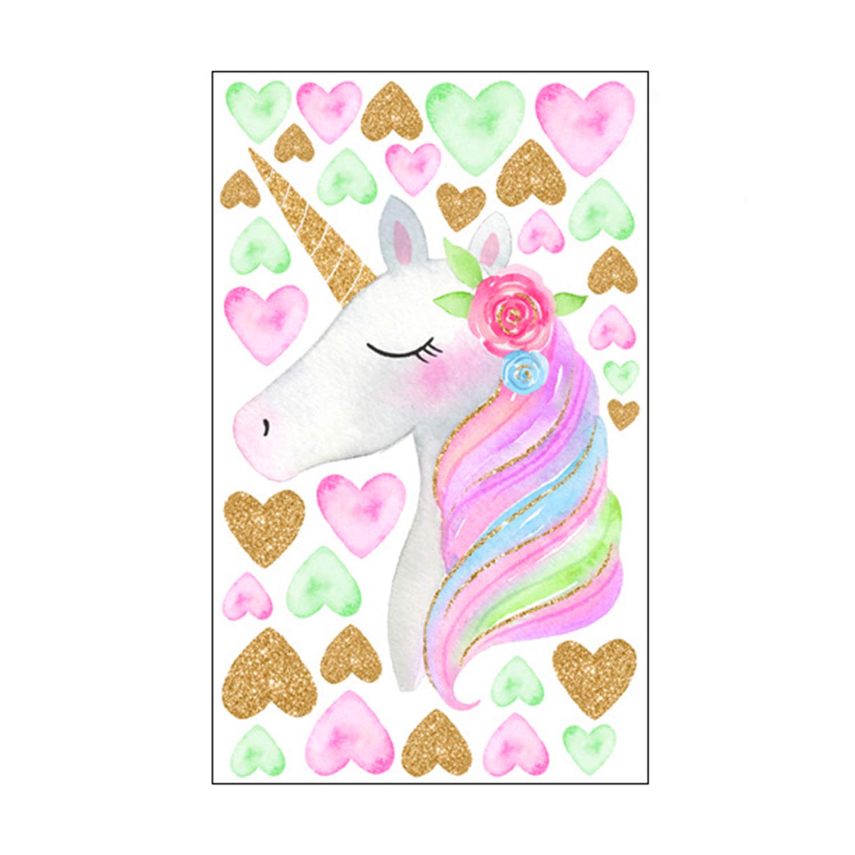 LUTER Unicorn Heart Stickers Wall Decals Peel and Stick Cute Wall Decor Art Sticker for Girls Women Kids Bedroom Kindergarten