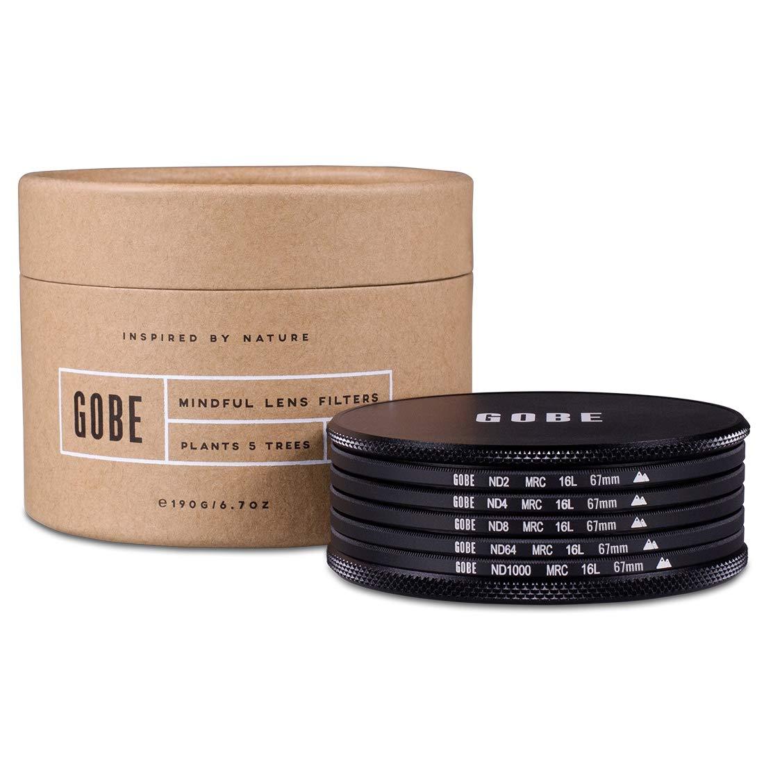 Gobe ND Filter Kit 67mm MRC 16-Layer: ND2, ND4, ND8, ND64, ND1000