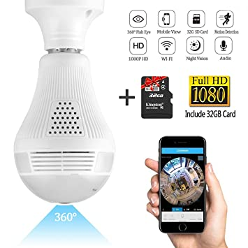 Review Wifi Light Bulb Camera,1080P