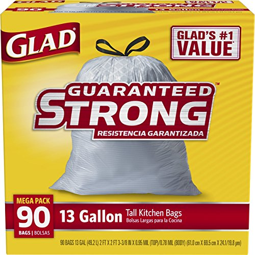 Glad Tall Kitchen Drawstring Trash Bags, 13 Gallon, 90 Count, (Packaging May Vary)