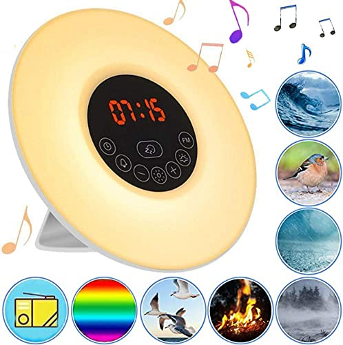 Smart Wake-Up Light Clock, FM Radios Alarm Clock With Sunrise and Sunset Simulation Sleep Aid Feature Snooze Function 6 Colored and 10 Levels Adjustable Brightness Digital LED Clock for Kids Adults
