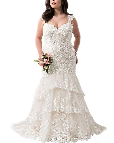 Amazon.com: Vestido de novia largo de encaje para vestidos ...