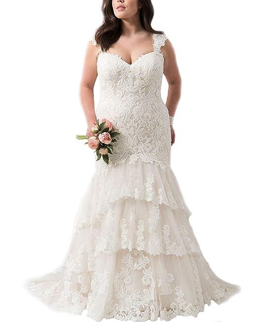 JAEDEN Mujer Vestido de Boda Sirena Largo Encaje V-Cuello Vestido de Novia Blanco EUR32