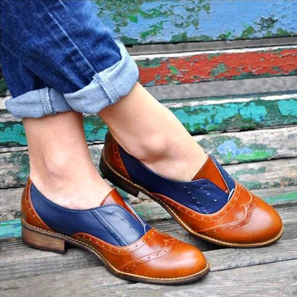 LILICAT❋ Tacones Redondos con tacón bajo y Costura en Cuero Zapatos de Mujer Botines Planos de Piel con Punta Redonda Zapatos sin Cordones con tacón ...