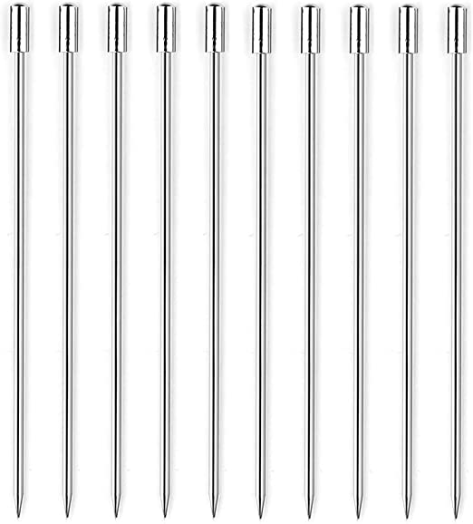 Cylindrical Head BTMB 4 Inch Stainless Steel Cocktail Picks Fruit Stick Martini Picks Pack of 10