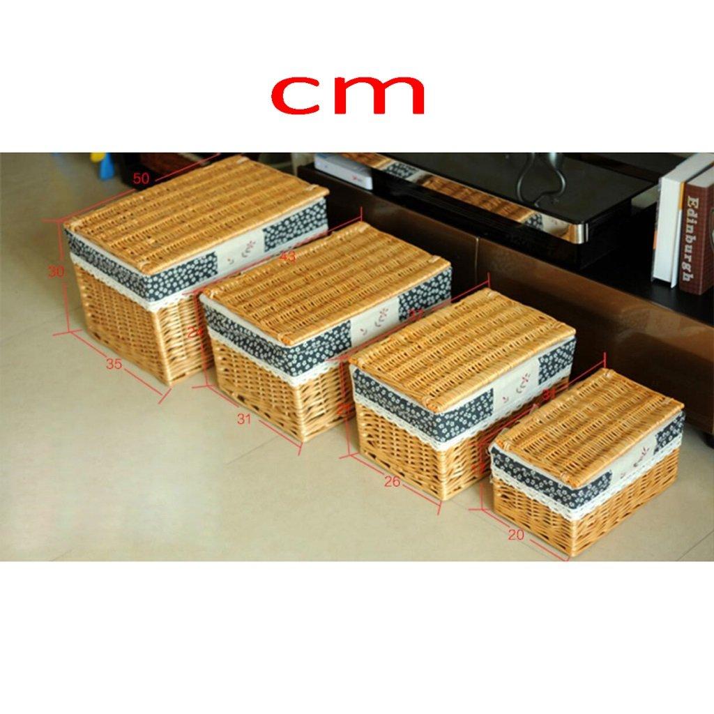 Aufbewahrungsboxen Xuan Worth Having Braunes Leinen Quadratisch gedeckte Korbweide Vorbereitung Tuch Sammelkorb Der Tisch des Kaffees ist eingerichtet größe : 43 * 31 * 24cm