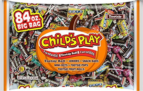 Tootsie Roll Child's Play Jumbo 5-1/4 lb Bulk Assorted Candy Value Pack Including Tootsie Rolls, Tootsie Pops, Mason Dots, Tootsie Fruit Chew Rolls, and Tootsie Snack Bars (84 oz)