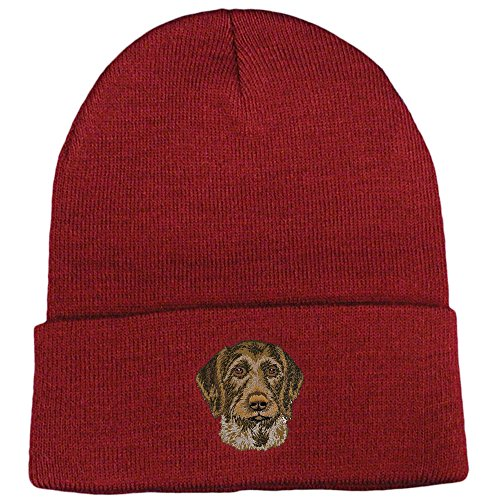 German Wirehaired Pointer Club - Cherrybrook Dog Breed Embroidered Ultra Club Classic Knit Beanies - Maroon - German Wirehaired Pointer