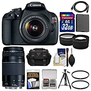 Canon EOS Rebel T5 Digital SLR Camera Body & EF-S 18-55mm IS II with 75-300mm III Lens + 32GB Card + Case + Battery + Tripod + Kit