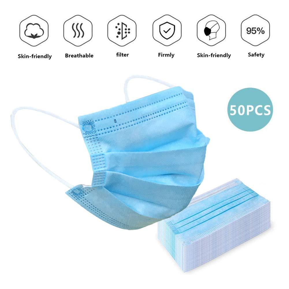XYQCPJ 50Piezas Máscara De La Boca desechable Máscaras de Filtro de Polvo Transpirable antivirus Corta Saliva mascarillas Protectoras Facial Máscaras de Cubierta Protectora