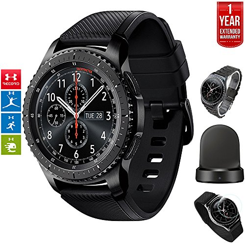 Samsung Gear S3 Frontier Bluetooth Watch with Built-in GPS Dark Gray (SM-R760NDAAXAR) with Wireless Charger Bundle + Wrist Band Silver + 1 Year Extended Warranty