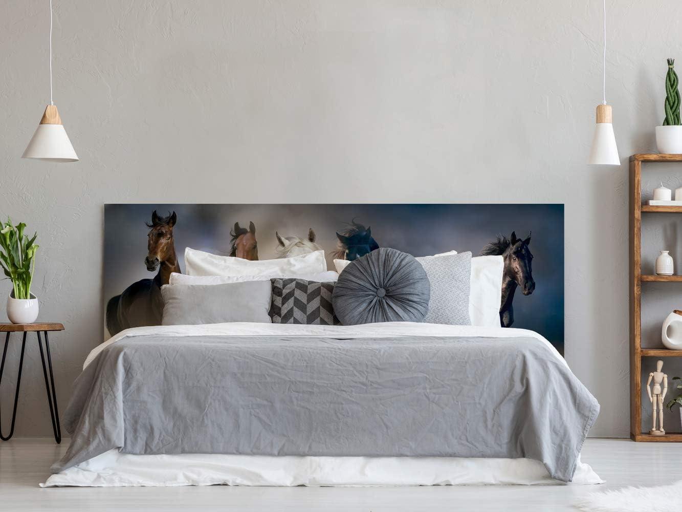Cabecero Cama PVC Impresión Digital Caballos Multicolor 150 x 60 cm | Disponible en Varias Medidas | Cabecero Ligero, Elegante, Resistente y Económico