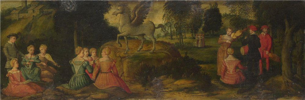Oil Painting 'Girolamo Romanino Pegasus And The Muses', 30 x 91 inch / 76 x 232 cm , on High Definition HD canvas prints is for Gifts And Gym, Home Office And Living Room Decoration, fine by LuxorPre