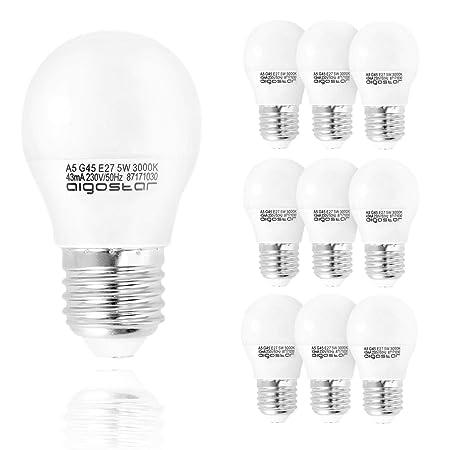 Aigostar - Bombilla LED A5 G45, E27, 5 W equivalente a 35 W, 400lm ...