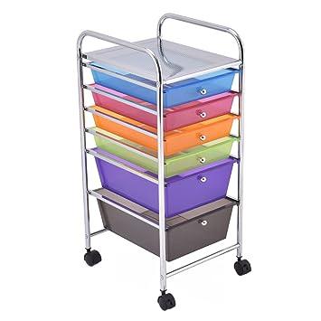 Amazon Giantex 6 Drawer Rolling Storage Cart Tools Scrapbook