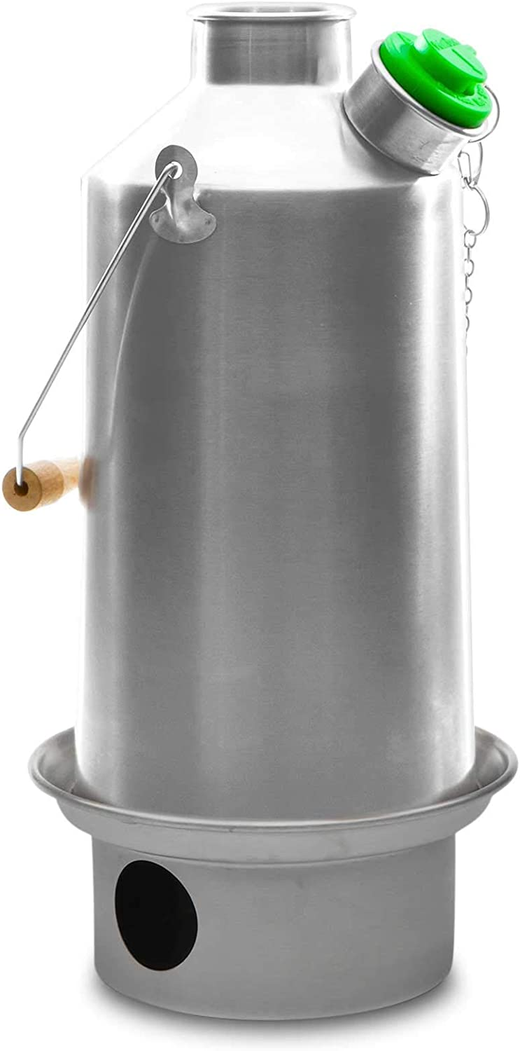 Kelly Kettle Base Camp 54 oz. Stainless Steel 1.6 LTR Rocket Stove Boils Water Ultra Fast with just Sticks Twigs. Enables You to Rehydrate Food or Cook a Meal. for Camping, Fishing, Emergency