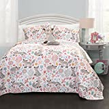 Lush Decor 16T000854 4 Piece Pixie Fox Quilt Set, Full/Queen, Gray/Pink