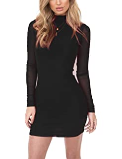 7e439081fc0 Yonala Women s Mock Neck Mini Bodycon Dress Mesh Long Sleeve Club Party  Dresses