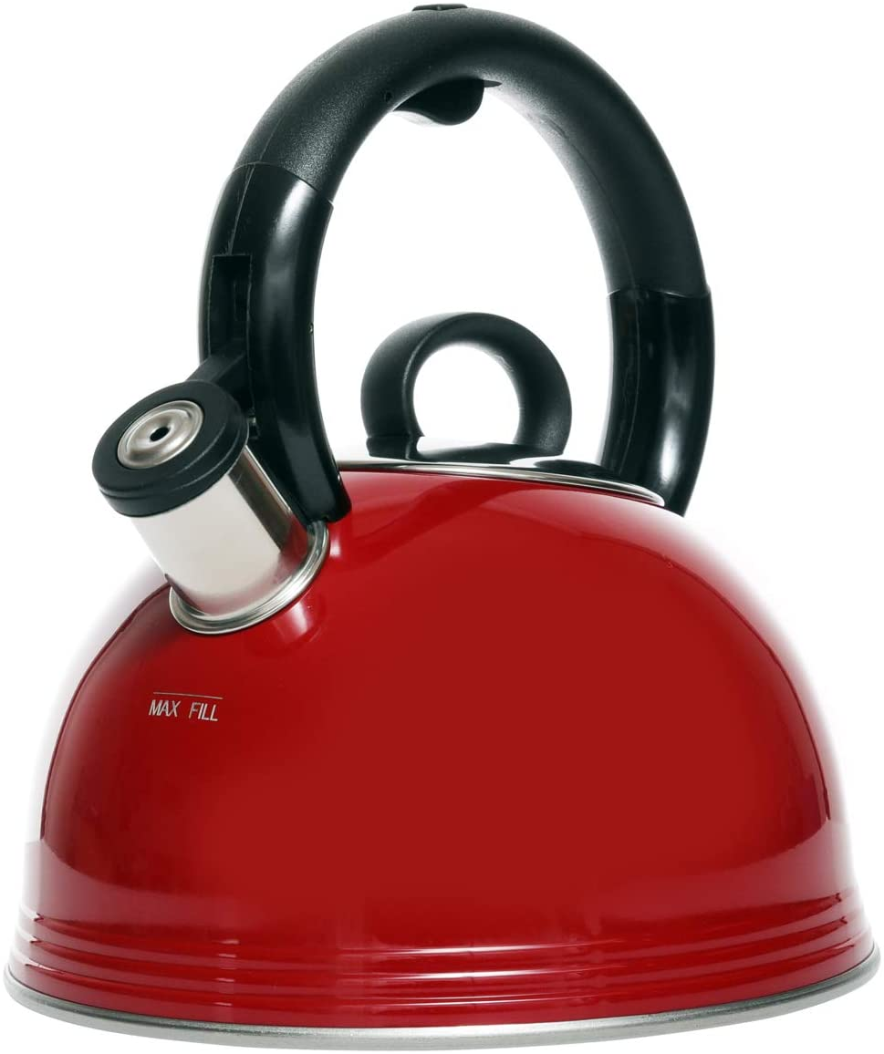 Copco 2.1 Quart Whistling Tea Kettle, Glossy Red Finish
