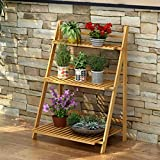 Three-Tier Bamboo Flower Rack, Multi-Function, Foldable, Outdoor / Balcony Flower Pot Rack ( Size : B-70cm )