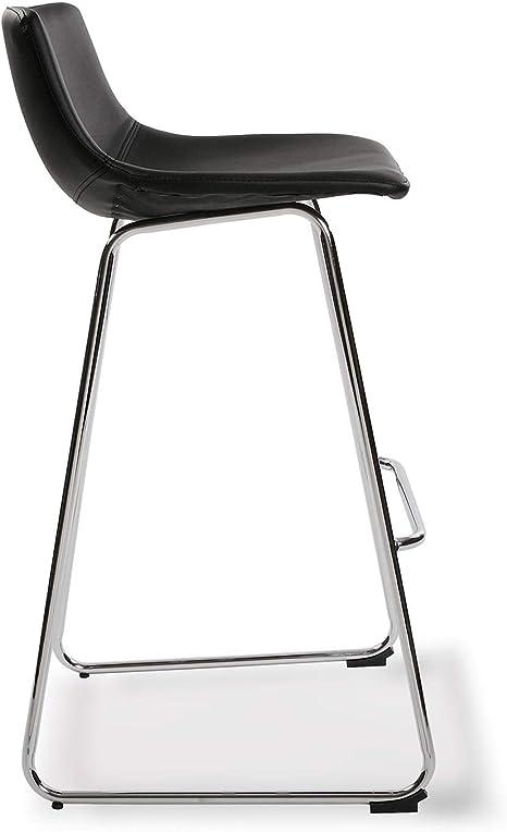 92 x 43 x 48 cm Versa 21330016 Set di 2 sgabelli da bar Plymouth con seduta fissa in similpelle e gambe in metallo color argento colore nero