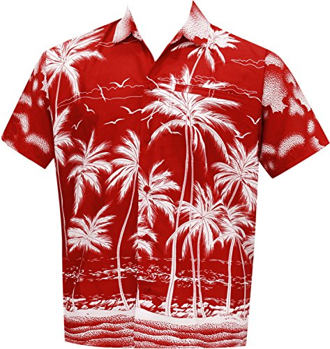 [La Leela Matching hawaiian shirt and dresses mens 70s 80s 90s retro Vintage Island mens Shirt XS Red Fathers Day Gifts Spring Summer] (80s Male Fashion)