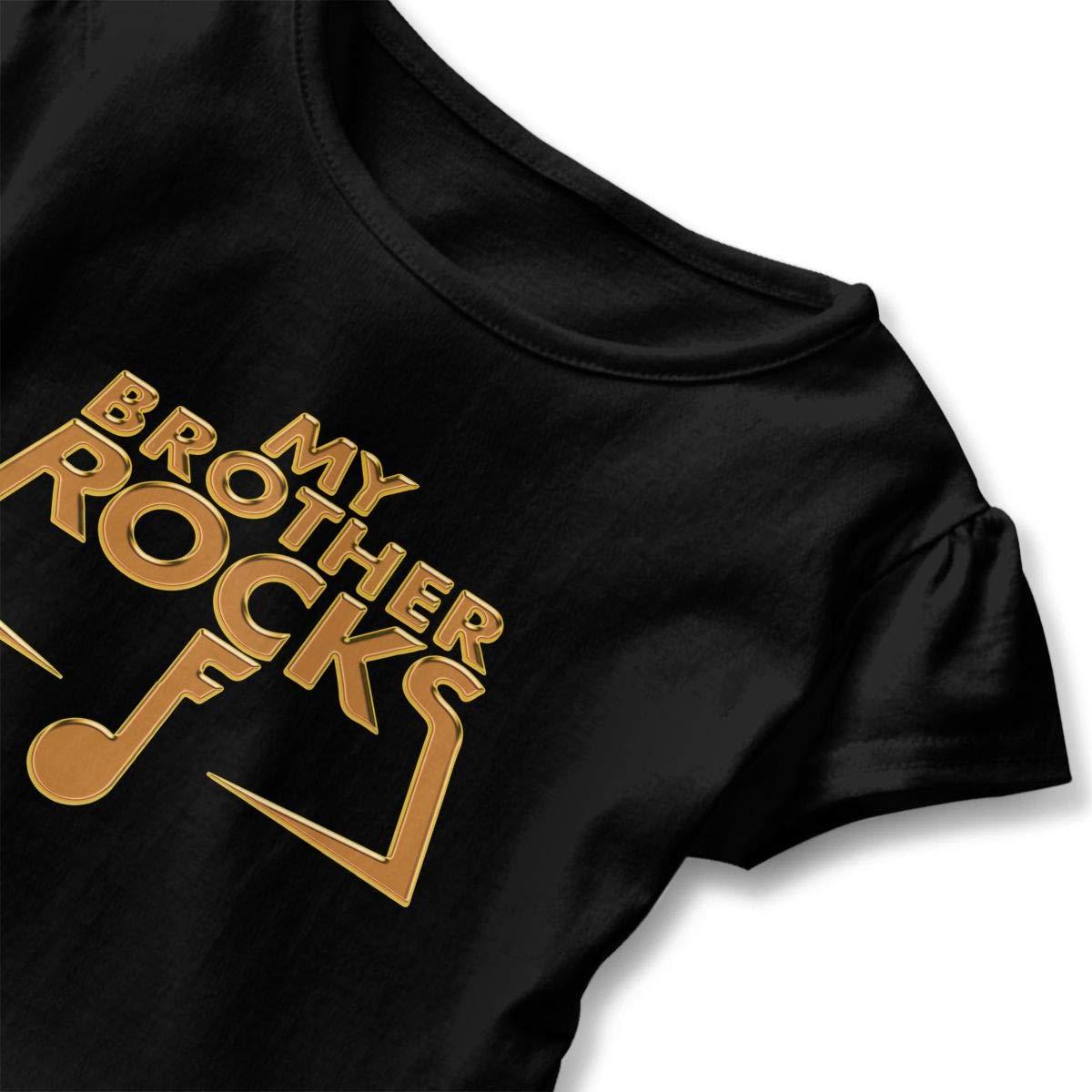 My Brother Rocks Heavy Metal Toddler Girls T Shirt Kids Cotton Short Sleeve Ruffle Tee