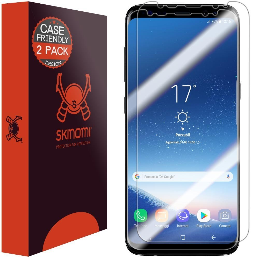 Galaxy S8 Screen Protector (2-Pack, Case Friendly Updated Version), Skinomi  TechSkin Full Coverage Screen Protector for Galaxy S8 Clear HD Anti-Bubble