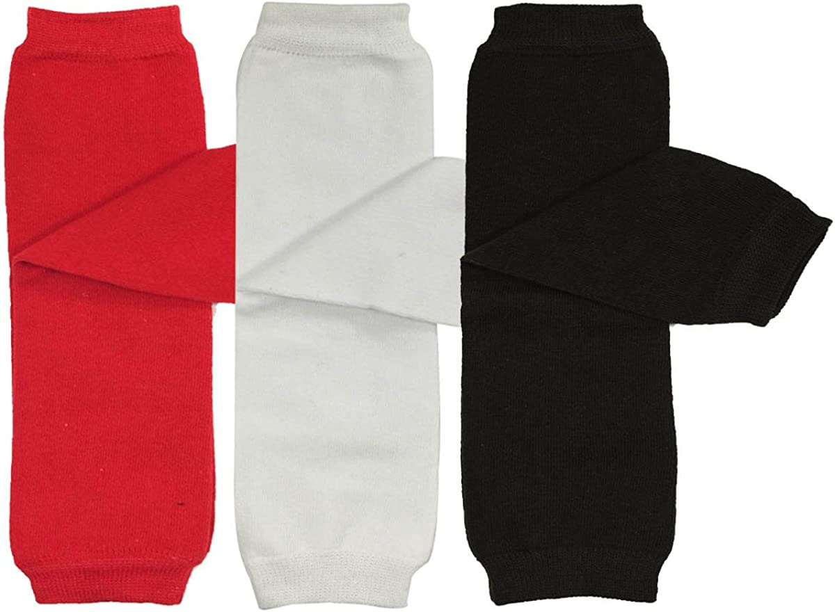 allydrew 3 Pack Solid Color Baby Leg Warmers & Toddler Leg Warmers, Red, White, Black