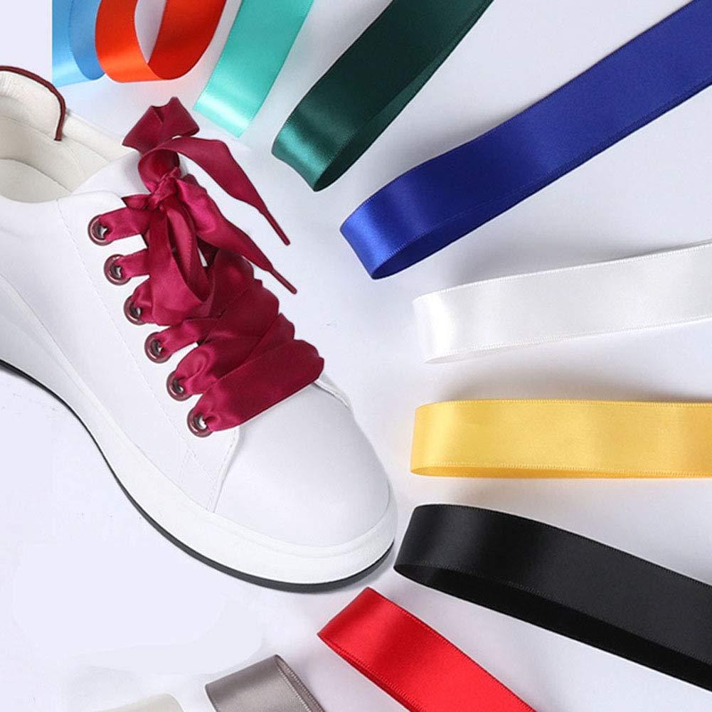 2 cm de large lacets de ruban de satin pour les filles Sneakers Casual lacets plats soyeux 30 couleurs