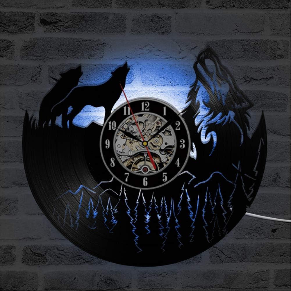 TPFEI Wolf Modelo Vinyl Record Reloj de Pared Reloj de Vinilo de diseño Moderno Reloj LED Decorativo Exclusivo 7D Decoración del hogar con 7 variaciones de Color