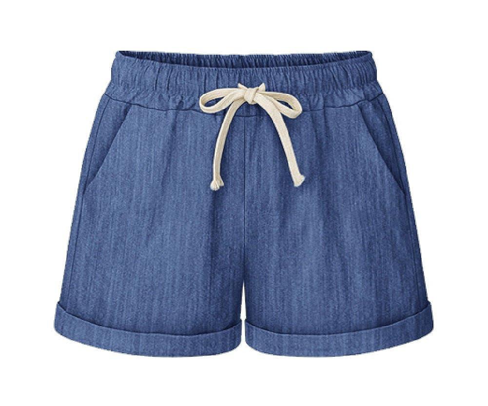 Dbluee MO GOOD Women's Elastic Waist Cotton Casual Beach Shorts Drawstring