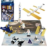 ArtCreativity 10 Pc Space Explorer Toy Kit, Pretend Play Set with Astronaut Figurines, Robotic Exploration Truck, Die…