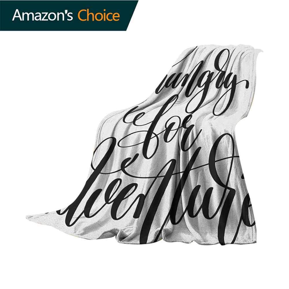 Adventure Beach Blanket Sand Proof Oversized,Monochrome Quote Hungry for Adventure Journey Challenge Hand Written Letters Microfiber All Season Blanket for Bed or Couch,60'' Wx70 L Black White