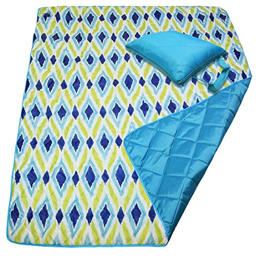 Waterproof Beach Blanket Water Resistant Picnic Blanket Camping Blanket Emergency Blanket Tote Mat Park Mat Outdoor Blanket 60 x 50 Inches, Lozenge (Target Outdoor Blanket)