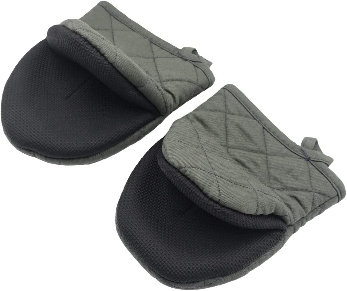 Neoprene Mini Oven Mitts, 2-Pack Heat Resistant Gloves Potholder to Protect Hands with Non-Slip Grip Surfaces and Hanging Loop for Handling Hot Pot Cookware/Bakeware