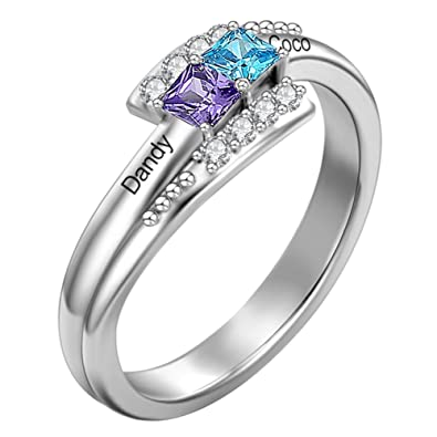 27ee3b5e6 SOUFEEL Personalized Promise Ring for Women and Girl 925 Sterling Steel  Changable Birthstone Engraved Name Ring with 2 Swarovski Crystal  Rhinestone: ...
