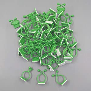 100Pcs Plant Climbing Wall Fixture Clips Invisible Vine Plant Climbing Support Clips Vine Plant Fixed Self-Adhesive Hook Cable Tie Clips for Home Decoration (Green)