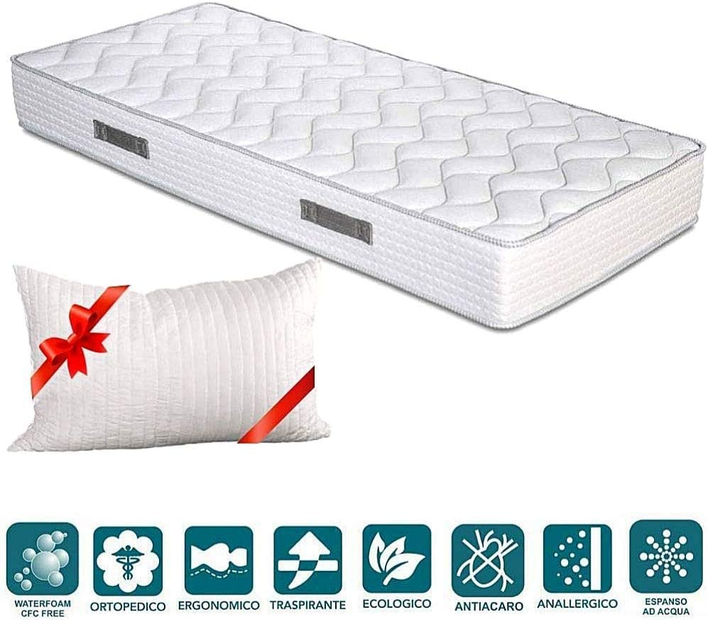 Evergreenweb - Colchones individual 90x190 Espuma de 20 cm de altura para Cama simple - Transpirable y máximo Confort - color blanco - Con cojín de viscoelástica gratuitas, apto para todas las camas.