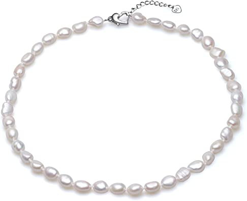 Sterling Silver Paperclip Necklace with irregular shaped Baroque Pearls