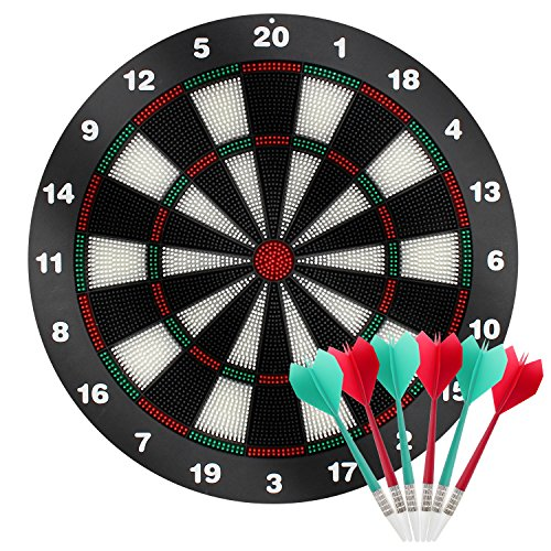 Amazing SySrion Dart Board With Soft Safety Darts   Great Games For Kids And  Leisure Sport For Office 16 Inches