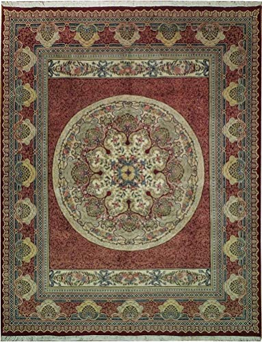 8 x 10 Red Luxurious New Wool on Cotton Aubusson Handmade Rug