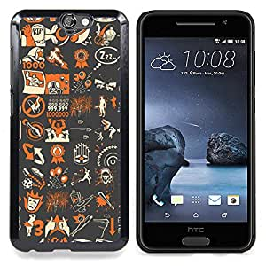Abstract Pop Art Gaming Pattern - Tf B0Rderland Caja protectora de pl¨¢stico duro Dise?ado King Case For HTC ONE A9