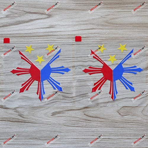 3S MOTORLINE (2) 4`` Eight-ray Sun Stars Flag of Philippines 3 Colors Decal Sticker Car Vinyl sda1