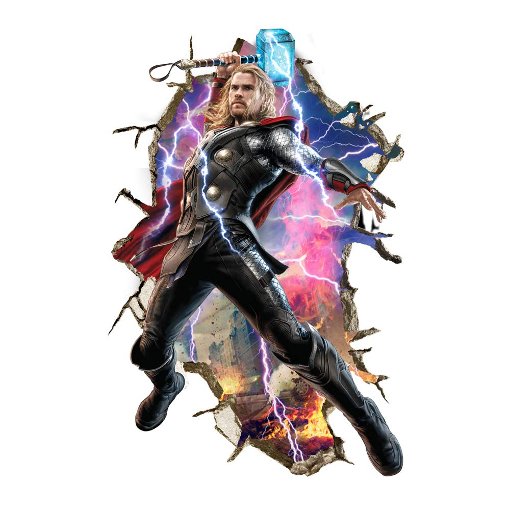 FANGLIAN Removable 3D Thor Wall Sticker Super Hero Thor Wall Decal Cartoon Marvel Wall Sticker Avengers Wall Art Decal Stickers for Kids Room Bedroom Boys Girls Wall Decor(40×60 cm)