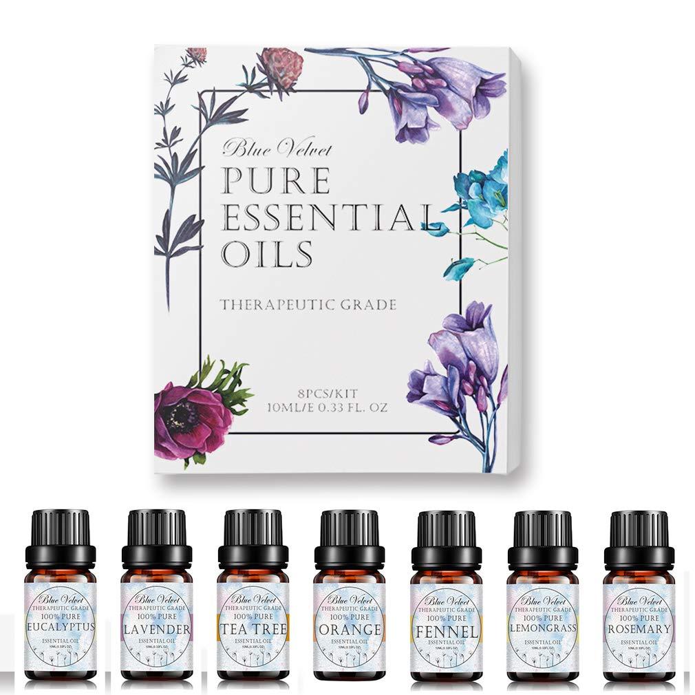 Essential Oils Gift Set,Top 8 Aromatherapy Oils Lavender Orange Tea Tree Peppermint Eucalyptus Lemongrass Rosemary Fennel