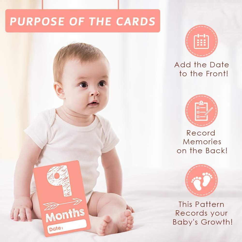haga bricolaje su dise/ño con bol/ígrafo 36 tarjetas hito unisex registre momentos apreciados Regalos perfectos para baby shower y regalos para el embarazo Tarjetas Baby Moment con caja de regalo