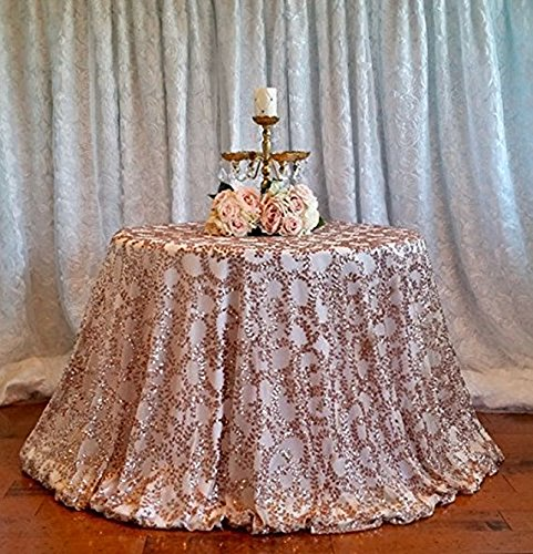 B-COOL 108Inch Round Rose Gold Vine Tablecloth Sequin Tablecloth Elegant Shiny Table Cover Elegant for Party Birthday Events Decorations