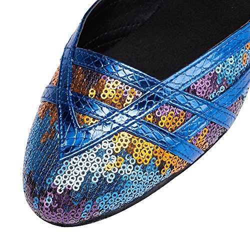 Latin Glitter Mujer De Zapatos Blue7cm Mary Dance High Ballrom Modern Jance Baile Salsa Heel para Tango pqCSw