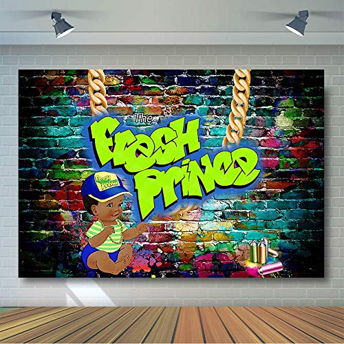 COMOPHOTO Fresh Prince Baby Shower Backdrop 7x5ft Graffiti Wall The Fresh Prince Background Throwback 90s Party Banner Backdrop for Photography Photo Booth Supplies